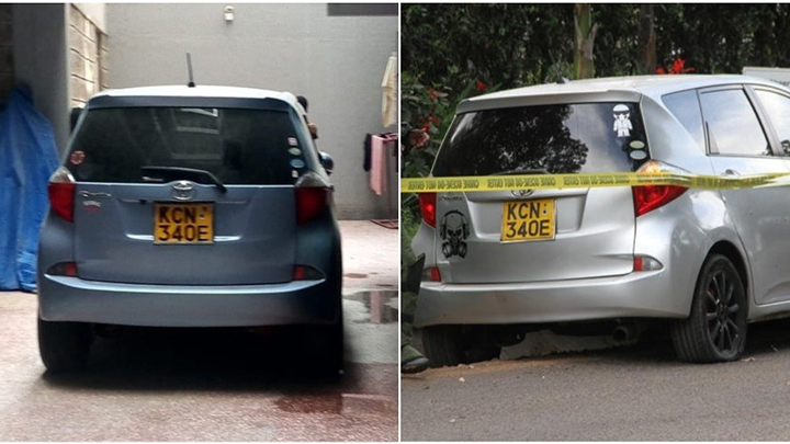Vehicle used by terror suspects in Dusit D2 hotel attack on the right and the license plate they cloned on the left. PHOTO/COURTESY