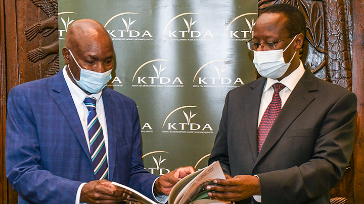 KTDA Holdings Chairman, Peter Kanyago (left) with KTDA Holdings Group CEO, Lerionka Tiampati at the company's AGM held on Friday, Dec 18, 2020 in Nairobi. PHOTO/KTDA