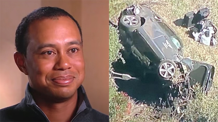 Tiger Woods and the accident scene.