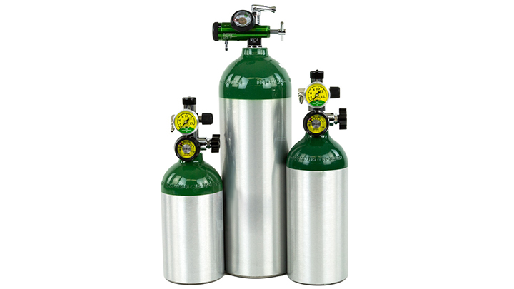 Oxygen cylinders.