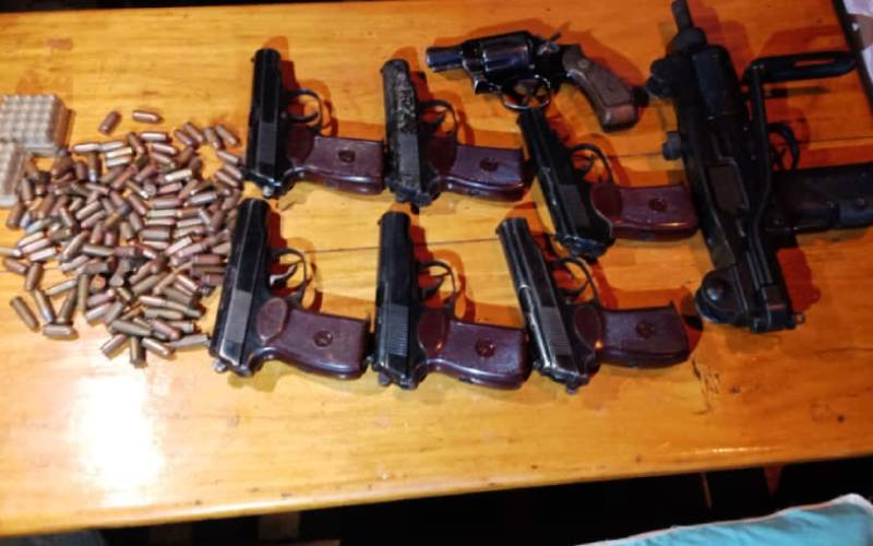 Firearms and rounds of ammunition. PHOTO/COURTESY