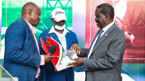 Raila Odinga (L) Chris Kirubi (C) and James Mworia at the deal signing. PHOTO/RAILA
