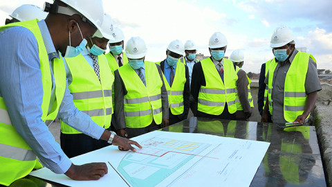 KTDA Holdings Board and Management, led by the Chairman, Peter Kanyago, during a visit to the Chai Logistics Centre in Nairobi on Wednesday, 28th October, 2020. The logistics centre will serve as a transit point of teas from KTDA managed factories to be m