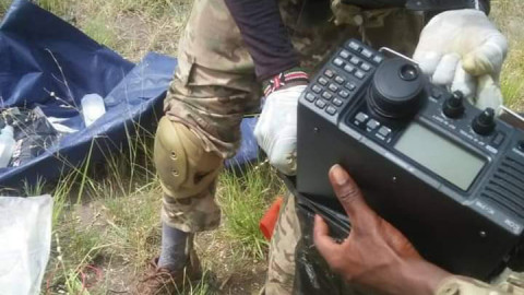 Some of the communication gadgets recovered in the Boni Forest raid by KDF. PHOTO/COURTESY