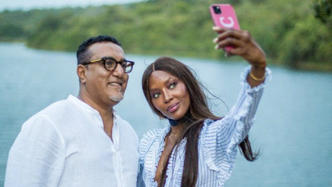 Tourism CS Najib Balala and supermodel Naomi Campbell. PHOTO/MOT