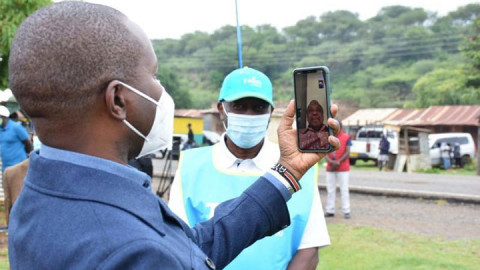 Joe Mucheru on a video call with President Uhuru Kenyatta using Loon. PHOTO/COURTESY