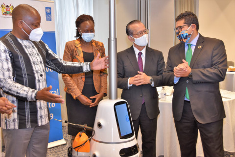Mutahi Kagwe and UNDP and Japanese officialsat the launch. PHOTO/MOH