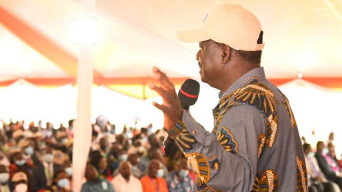 Raila Odinga at Ciala Resort. PHOTO/ODM