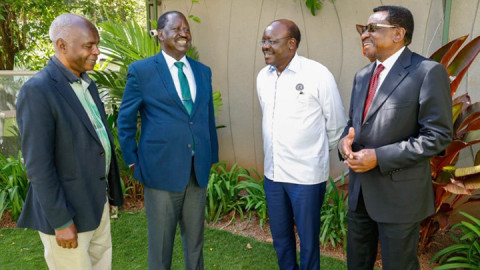 Kivutha Kibwana, Raila Odinga, Mukhisa Kituyi and James Orengo. PHOTO/COURTESY