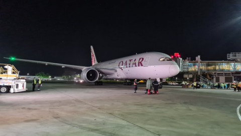 Qatar Airways plane carrying the initial Covid-19 vaccines. PHOTO/WHO