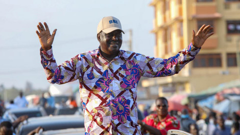 Raila Odinga in Kilifi. PHOTO/COURTESY