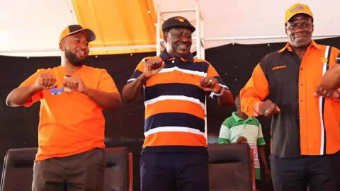 Hassan Joho, Raila Odinga and Wycliffe Oparanya. PHOTO/COURTESY
