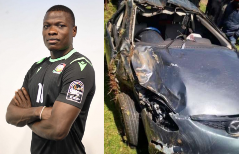 Patrick Matasi and his car after the accident. PHOTO/COURTESY