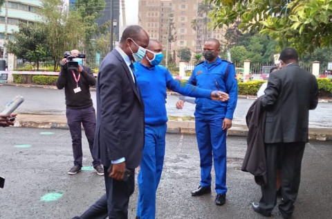 Okoth Obado arriving at the trial. PHOTO/COURTESY